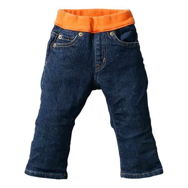日本製 (岡山縣倉敷市兒島產) 兒童牛仔褲 藍色/橙色 直筒款式