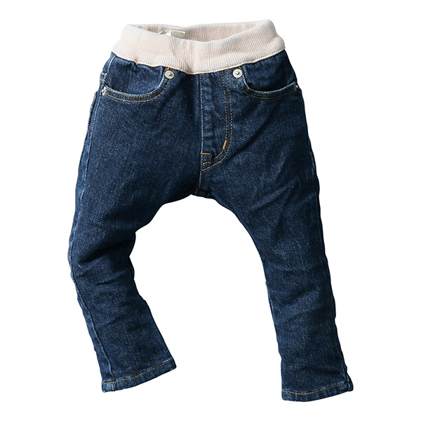 日本製 (岡山縣倉敷市兒島產) 兒童牛仔褲 藍色/煙粉紅色 緊身款式