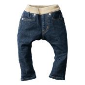 Made in Japan (Kojima, Kurashiki,  Prefecture) Kids' Denim Pants, Navy/Cinnamon Skinny type