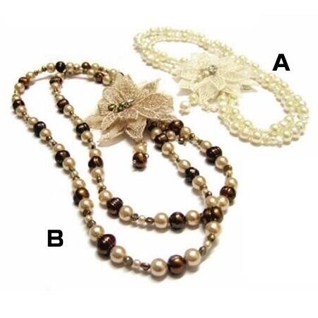 附飾花淡水珍珠項鍊