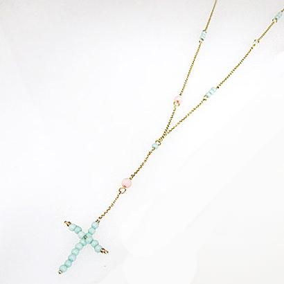 串珠裝飾十字項鍊 (藍色系)