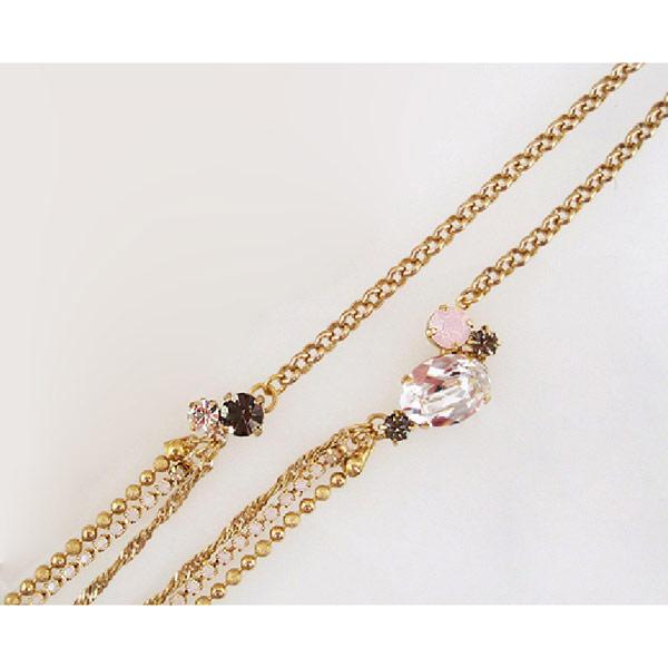 Mayglobe 萊茵石&圓球鏈橢圓形寶石長款項鍊 黃金色 x 玫瑰橢圓形 日本製 優美