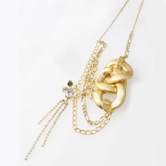 Mayglobe 粗鏈條 x 寶石2色調長款項鍊 黃金色 x 無光澤黃金色 日本製