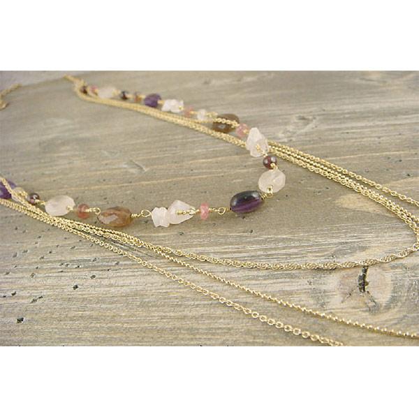 Kilburn 天然石長款項鍊 日本製 粉紅碧璽 紫水晶 石榴石 玫瑰水晶 碧璽