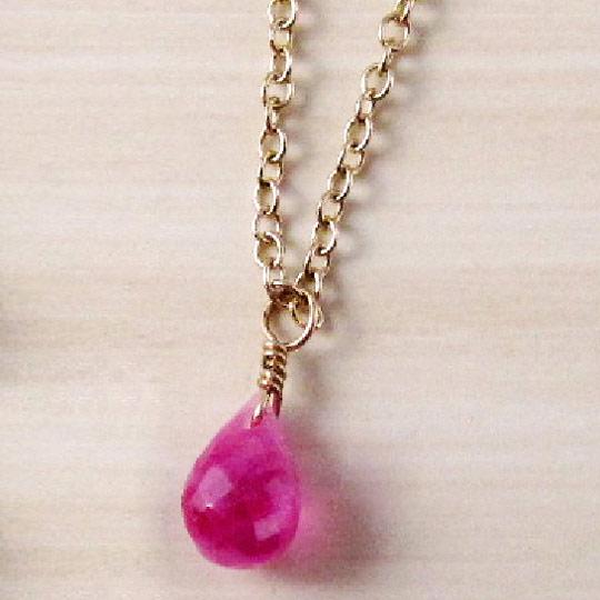 Kilburn 天然石粉紅藍寶石迷你項鍊日本製