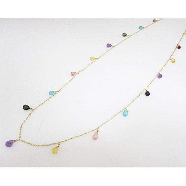 Kilburn 天然石粉紅碧璽, 綠碧璽, 紫水晶, 磷灰石, 黃水晶長款項鍊日本製