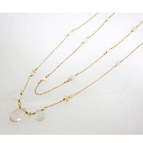 Kilburn 2way天然石紅水晶, 月長石, 粉紅色蛋白石, 雙重項鍊日本製