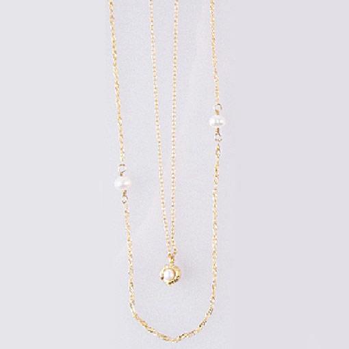 Kilburn 淡水珍珠 x 無光澤黃金色 雙重項鍊 日本製