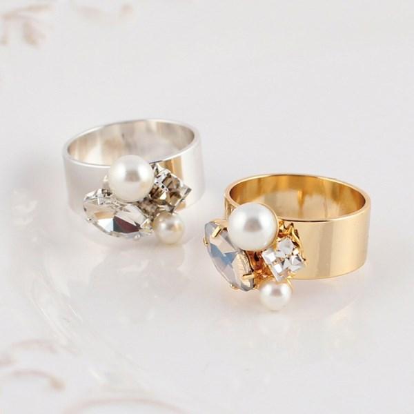 MAYGLOBE Veil 珍珠水鑽金屬戒指
