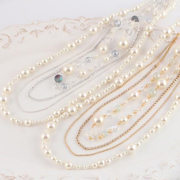 MAYGLOBE Veil 珍珠 x 串珠 x 寶石4連項鍊