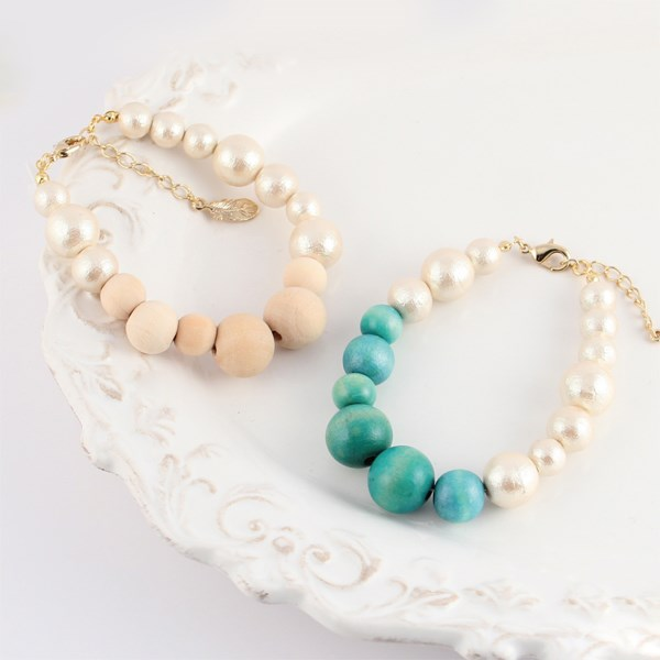 MAYGLOBE Veil 棉質珍珠 x 木質串珠手環