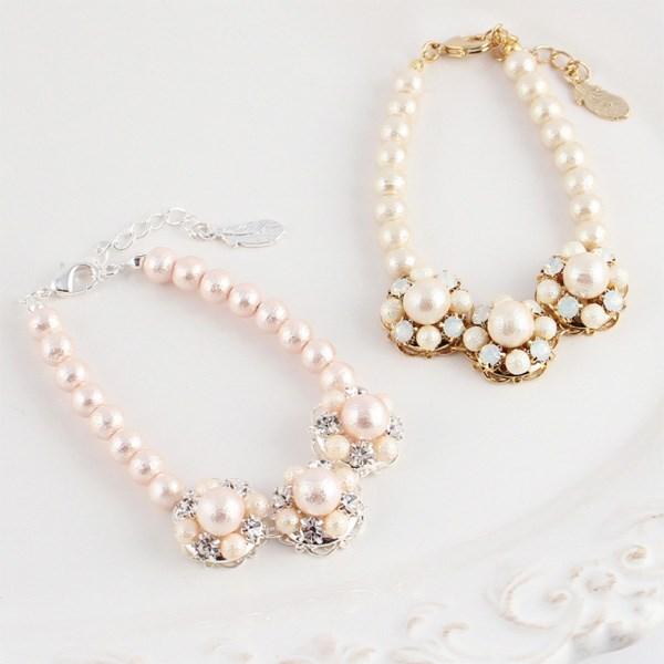 MAYGLOBE Veil 棉質珍珠水鑽花朵樣式手環