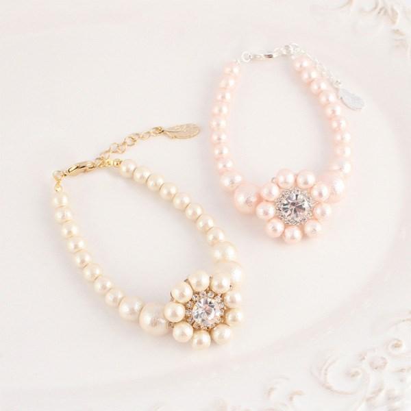 MAYGLOBE Veil 棉質珍珠花朵樣式手環