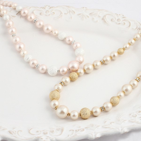 MAYGLOBE Veil 棉質珍珠 x 水鑽珠短項鍊
