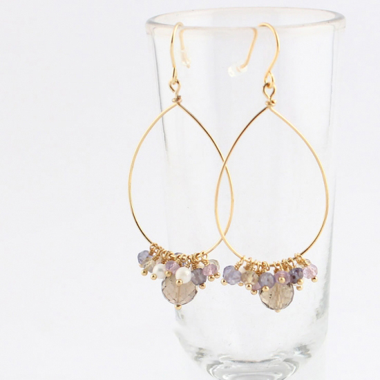 Kilburn 堇青石 x 粉水晶 x 淡水珍珠環狀耳環
