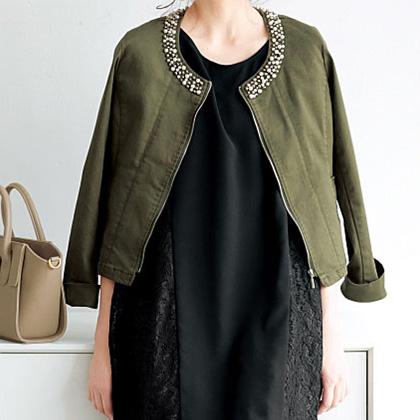 Collar Bijoux Collarless Jacket