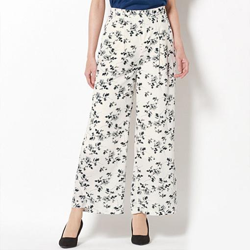 黑白花朵寬褲