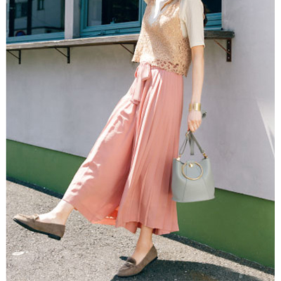Side-Pleated Gaucho Pants