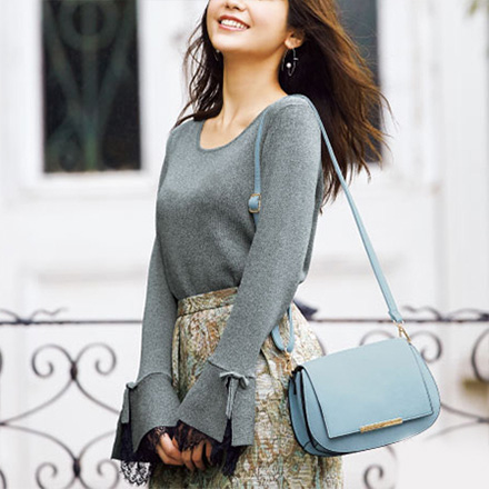 Lacy-Sleeve Flared Knit