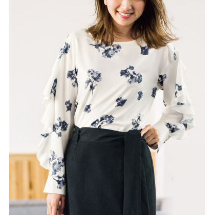 Floral Pattern Ruffle-Sleeve Blouse