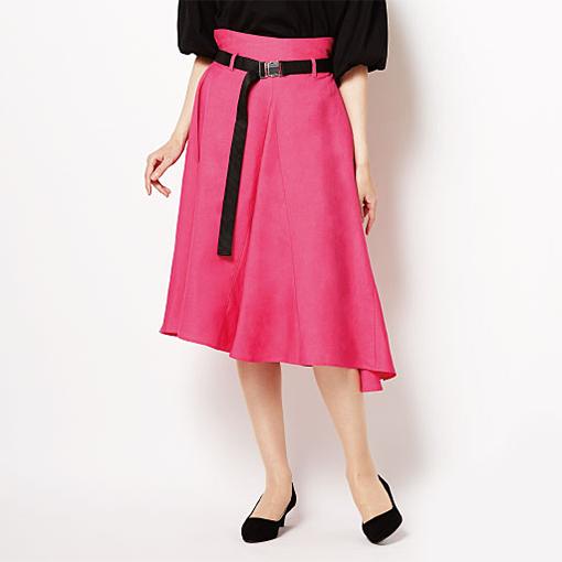 不對稱傘襬裙 附腰帶