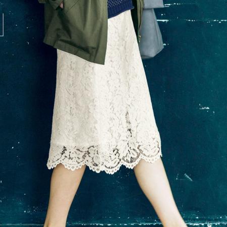 滿版蕾絲交叉設計裙