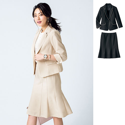 可機洗 西裝外套+裙子兩件式套組