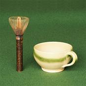 Nara Prefecture, Takayama Chasen Whisk, Black Bamboo, Long Handle Tea Whisk, Stirrer & Mug Set B