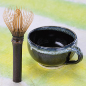 Nara Prefecture, Takayama Chasen Whisk, Black Bamboo, Long Handle Tea Whisk, Stirrer & Mug Set C