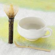 Nara Prefecture, Takayama Chasen, Black Bamboo Long-Handle Tea Whisk, Mug DE Tea Set A-DX