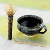 Nara Prefecture, Takayama Chasen, Black Bamboo Long-Handle Tea Whisk, Mug DE Tea Set C-DX
