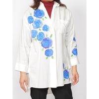 Hand-Painted Yuzen, Blue Rose, Loose Shirt (White) M Size