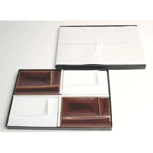 isola 小瓷盤4個套組 (白色×2, 糖釉×2)