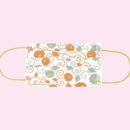 KUROCHIKU 和風圖案不織布口罩 7個包裝 花唐草