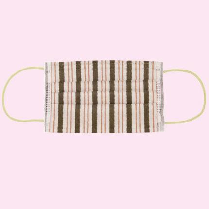 KUROCHIKU 和風圖案不織布口罩 7個包裝 不規則條紋