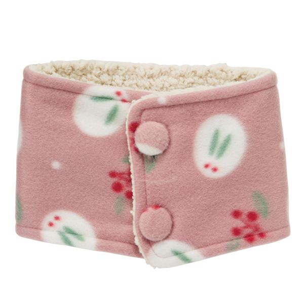 和風圖案起絨布 頸套 兔與南天 粉紅色