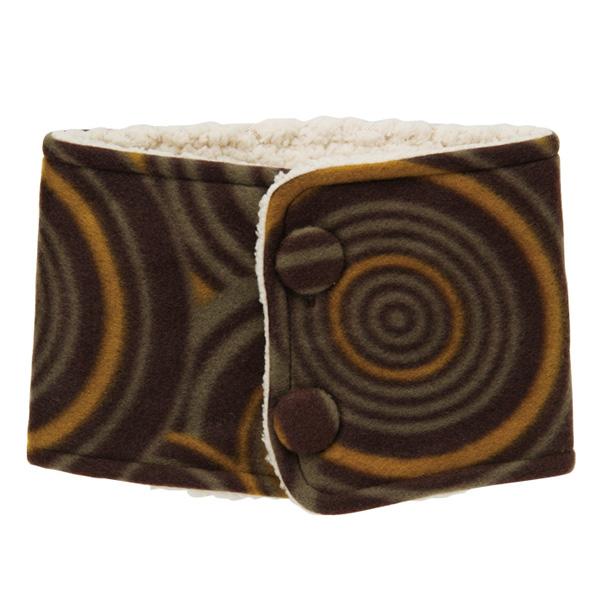KUROCHIKU 和風圖案起絨布 頸套 幾何圓 茶色