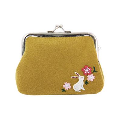 KUROCHIKU 和風系列 蛙嘴式小包 中 兔子