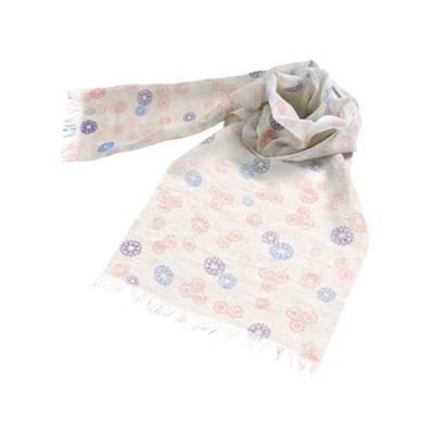 黑竹 棉麻圍巾 花菱龜殼紋