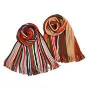 [fleur de paulownia] Reversible Multi-Color Rib-Knit Scarf  (Made in Japan)