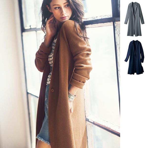 針織長版大衣外套