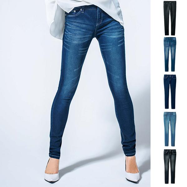 美體線條 彈性窄管丹寧褲