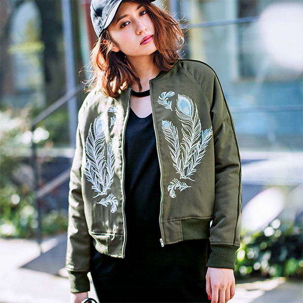 Feather Embroidery Blouson