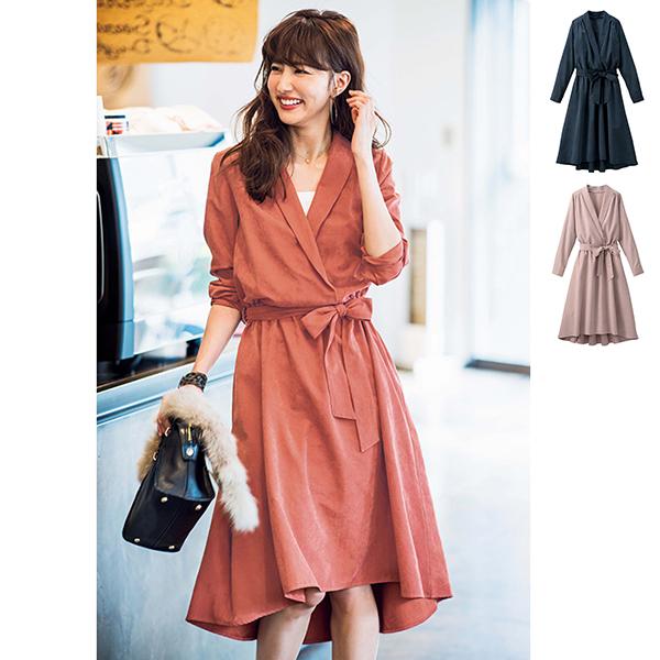 桃絨領口交叉造型洋裝