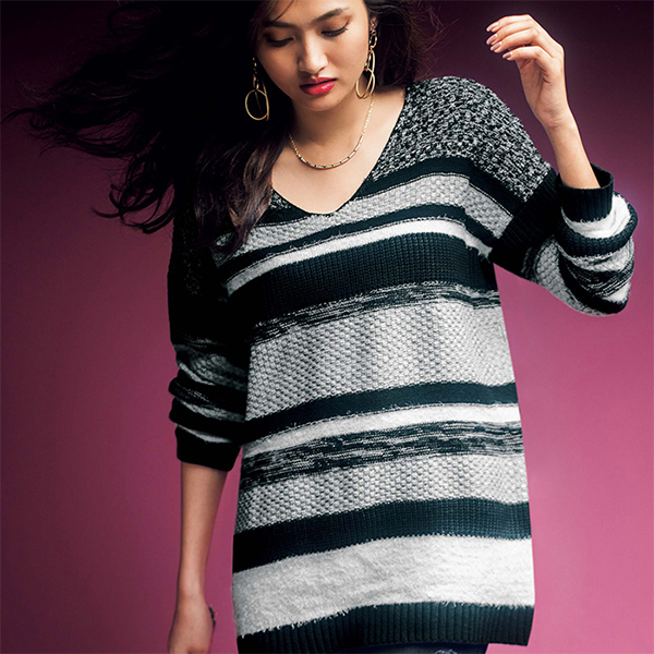 Contrasting Material Paneled Striped Knit