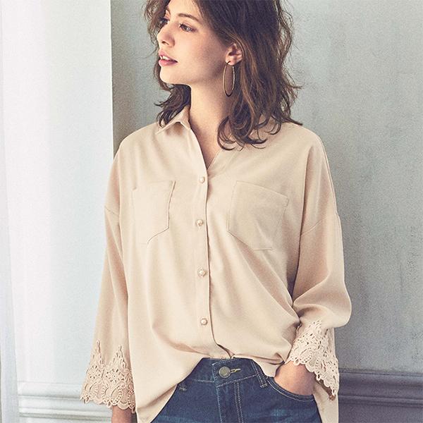 蕾絲造型輕柔襯衫
