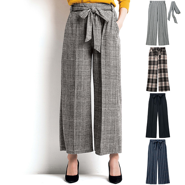 Center-Crease-Style Stretch Wide Pants