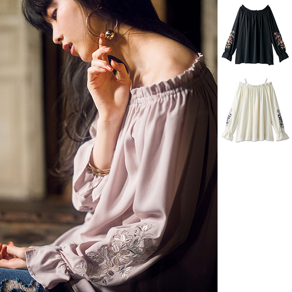 Embroidered-Sleeve 2WAY Blouse