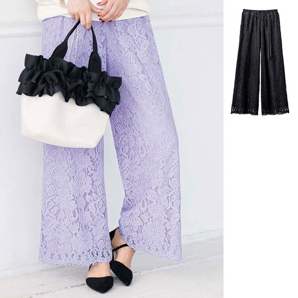 满版蕾丝宽裤