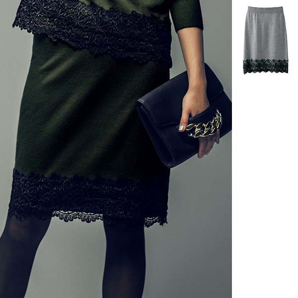 [RyuRyu] 下襬蕾絲針織衫窄裙 / SALE